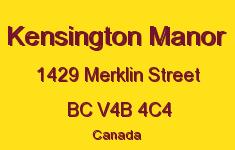 Kensington Manor 1429 MERKLIN V4B 4C4