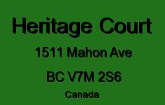 Heritage Court 1511 MAHON V7M 2S6