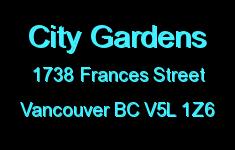 City Gardens 1738 FRANCES V5L 1Z6