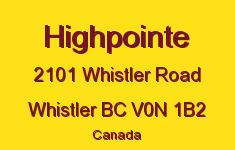 Highpointe 2101 WHISTLER V0N 1B2