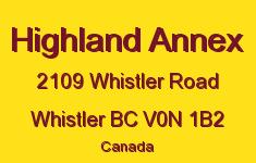 Highland Annex 2109 WHISTLER V0N 1B2