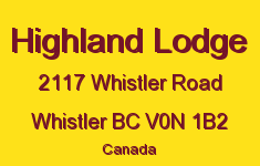 Highland Lodge 2117 WHISTLER V0N 1B2