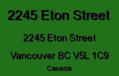2245 Eton Street 2245 ETON V5L 1C9