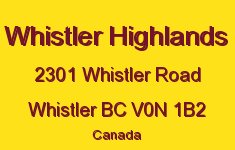 Whistler Highlands 2301 WHISTLER V0N 1B2