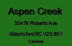 Aspen Creek 33478 ROBERTS V2S 8E1