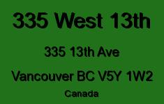 335 West 13th 335 13TH V5Y 1W2