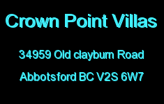 Crown Point Villas 34959 OLD CLAYBURN V2S 6W7