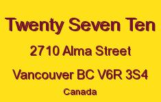Twenty Seven Ten 2710 ALMA V6R 3S4