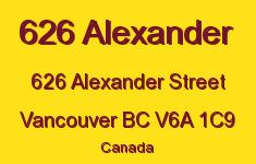 626 Alexander 626 ALEXANDER V6A 1C9