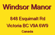 Windsor Manor 848 Esquimalt V9A 6W9