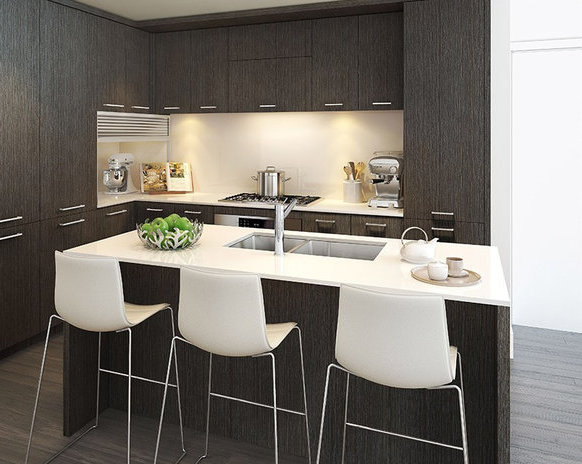 Display Suite Dark Kitchen Cabinets!