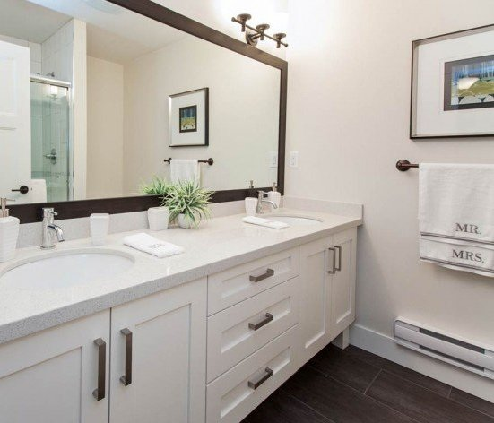 16458 23A Avenue, Surrey, BC V3Z 0L9, Canada Luxurious ensuite bathroom featuring a spacious walk-in shower with glass door, dual porcelain sinks, full-length vanity mirror, and elegant light bars!