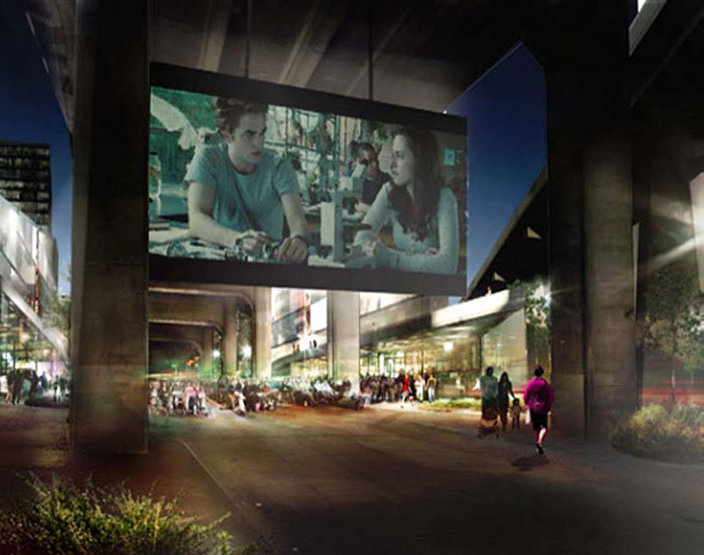 Big Screen Under Overpass!