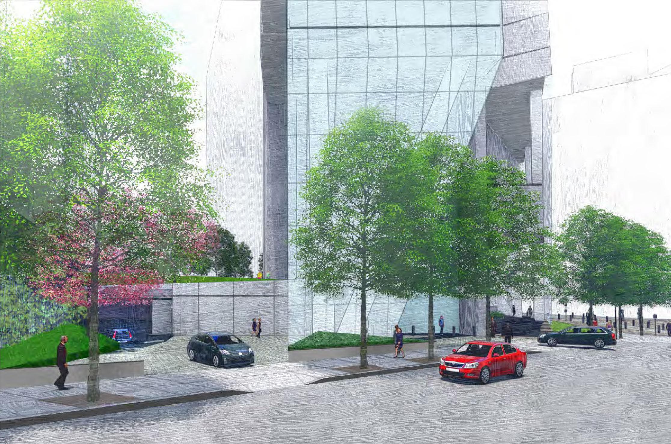 Rendering of Parking Entrance of Pender Street!