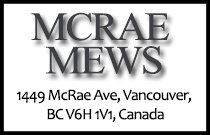 MCRAE MEWS 1449 McRae V6H 1V1