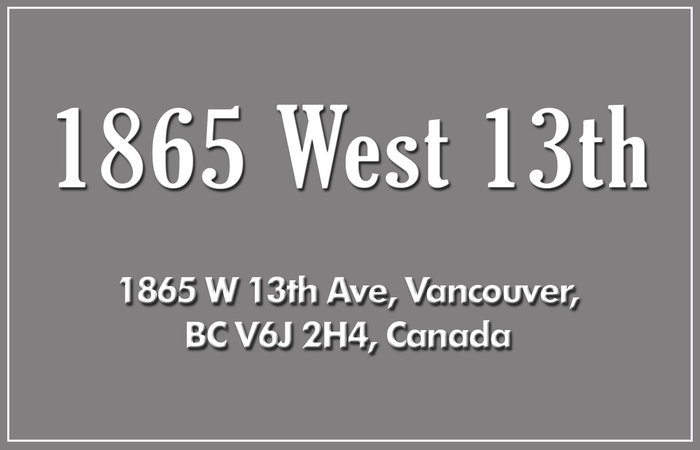 1865 West 13th 1865 13TH V6T 2H4