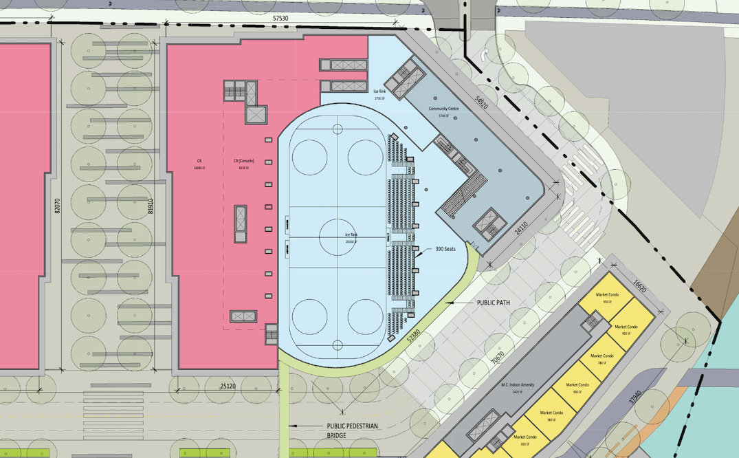 An ice rink is included in the development. It will serve as a practice rink for the Vancouver Canucks and also be for public use.!