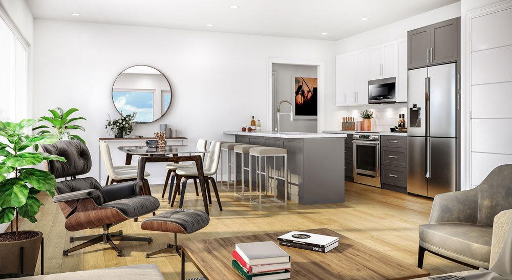 The Bevan - 2526 Bevan Ave - Rendering: kitchen, living, dining!