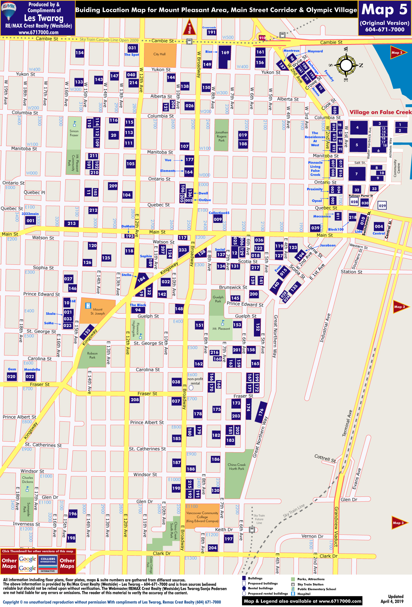 Detailed Interactive Downtown Vancouver Building Location Maps with Individual Building Listings & Sale History Including Rentals for MAP 5 - Mount Pleasant Area