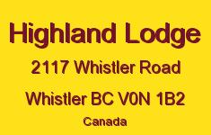 Highland Lodge 2117 WHISTLER V0N 1B2