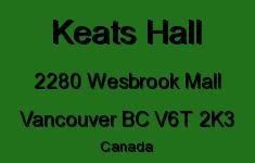 Keats Hall 2280 WESBROOK V6T 2K3
