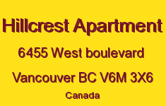 Hillcrest Apartment 6455 WEST BOULEVARD V6M 3X6