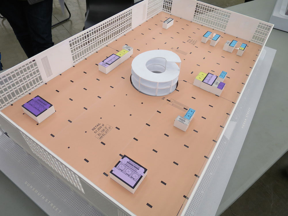Diagram model of the fourth floor showing retail (orange).!