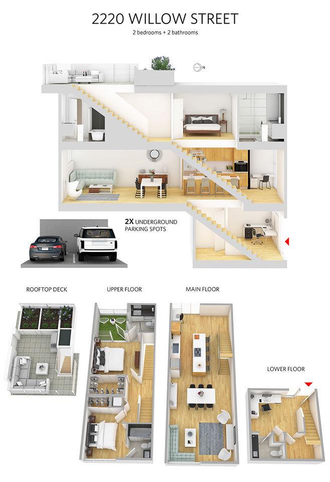 2220 Willow Street 3D Floor Plan!